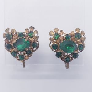 Vintage Signed CZECHOSLOVAKIA Flower Earrings